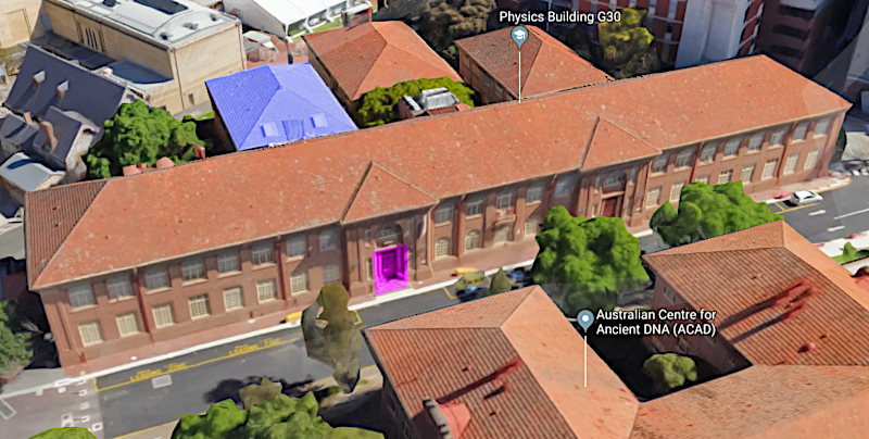 Aerial view of Physics building; entrance in purple; Kerr Grant in blue.