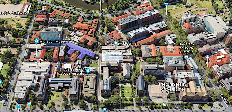 Aerial view of North Terrace campus, Physics is highlighted in blue.